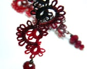 lace hand tatted earrings - WINTER ROSE - black and red melange