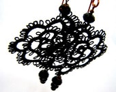 Black Filigree Lace Tatted Rose Earrings Vintage Feel -  Black Rose Lace