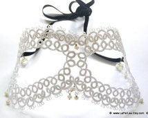 A Misterious Night in Venice -white hand tatted lace mask with crystals --- MADE TO ORDER ---