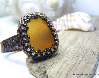 Mermaid Tears - Sea Glass Ring with Genuine Natural Amalfi Sea Glass - FAUX AMBER