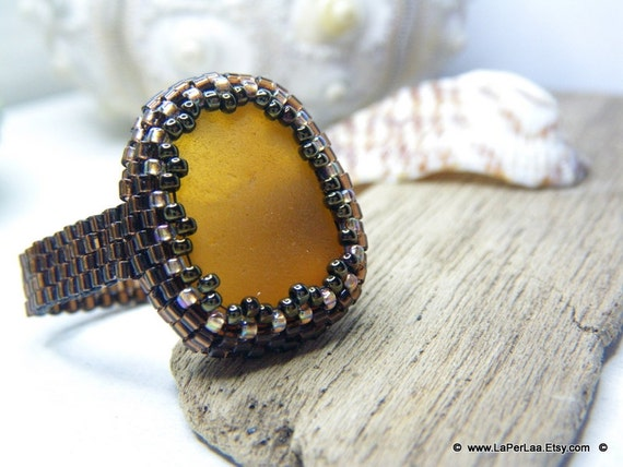 Mermaid Tears - Sea Glass Ring with Genuine Natural Amalfi Sea Glass - FAUX AMBER
