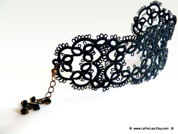 Filigree Lace Tatted Bracelet Cuff Vintage Feel - MARRAKESH NIGHT - made to order