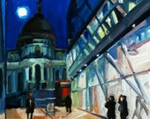 St. Pauls' via One New Exchange, original oil on panel painting, 2011, 19 x 19 cm