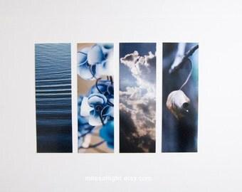 Bookmarks Set - Photo Series - Blue. Nature photography bookmark. Naturalist. Botanical. Book lovers gift. Stocking stuffers.