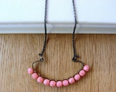 Pink coral necklace - Oxidized sterling silver