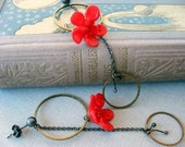 Vintage red flower. Oxidized sterling silver. Earrings.