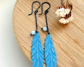 Black Friday Cyber Monday Holiday Sale - Blue Feather - Earrings - Sterling silver - Long