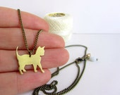 Gold cat necklace, antique brass chain, long pendant