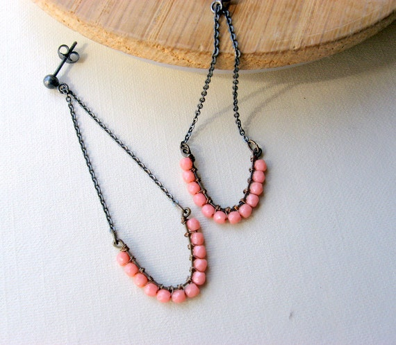 Pink coral earrings - Sterling silver - Oxidized