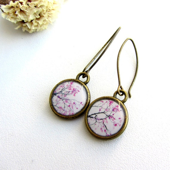 Cherry tree flower resin earrings - Antique brass - white and pink