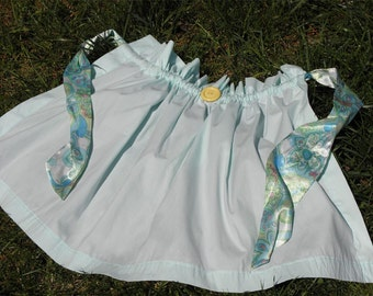 Women's Upcycled Half Apron | Recycled Aqua Blue & Paisley Curtain Apron | That's Spiffy Jeanette