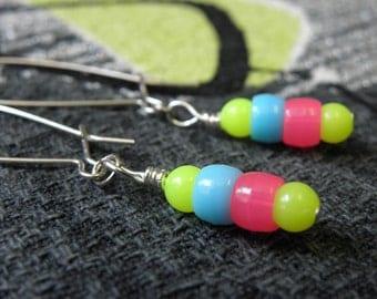Neon Earrings   Neon Yellow, Electric Blue, and Hot Pink Dangle Earrings   Long Earrings for Women & Girls
