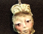 Pendant Two Sided Ceramic Face with Unicorn