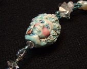 Necklace Ceramic Beaded Two Sided Face with Flower Handmade
