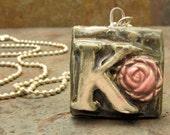 Initial Pendant Necklace Ceramic K Stonewashed Denim Blue with Rose