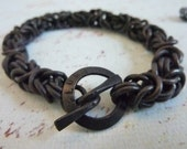 Mens bracelet of heavyweight copper chainmaille oxidized to darkest brown