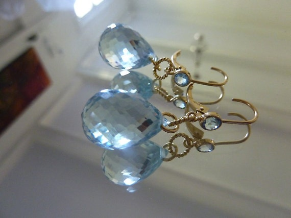 Earrings, sterling silver, AAA blue topaz bezel set gems on earwires, handmade, designer quality
