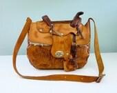 Hand Tooled Leather Saddle Bag Vintage 1970s Western Purse Sheepskin Lined Tan Brown