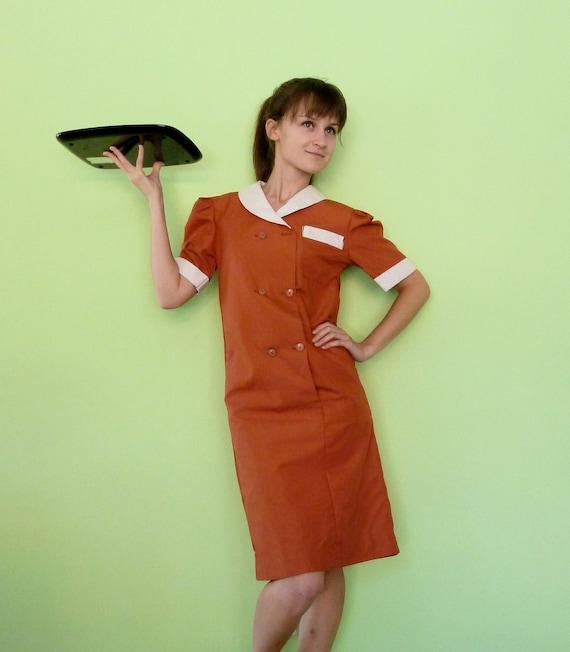 Vintage Waitress Uniform 60s Diner Girl Shirt Dress Burnt Orange XS