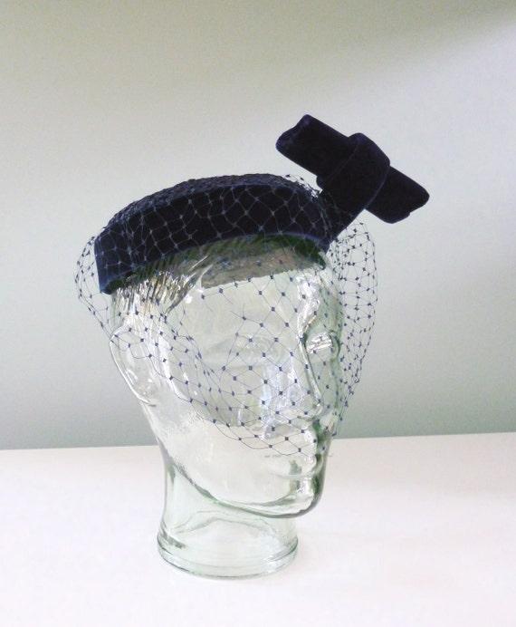 Reserved 1950s I. Magnin Hat Navy Blue Velvet Vintage Fascinator Veil Netting Bow