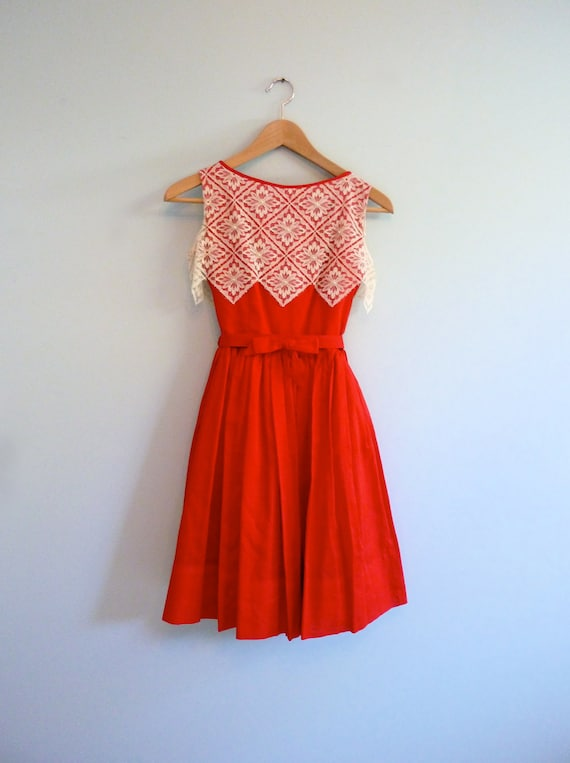 Red White Lace 1950s Party Dress Zig Zag Full Skirt Holiday