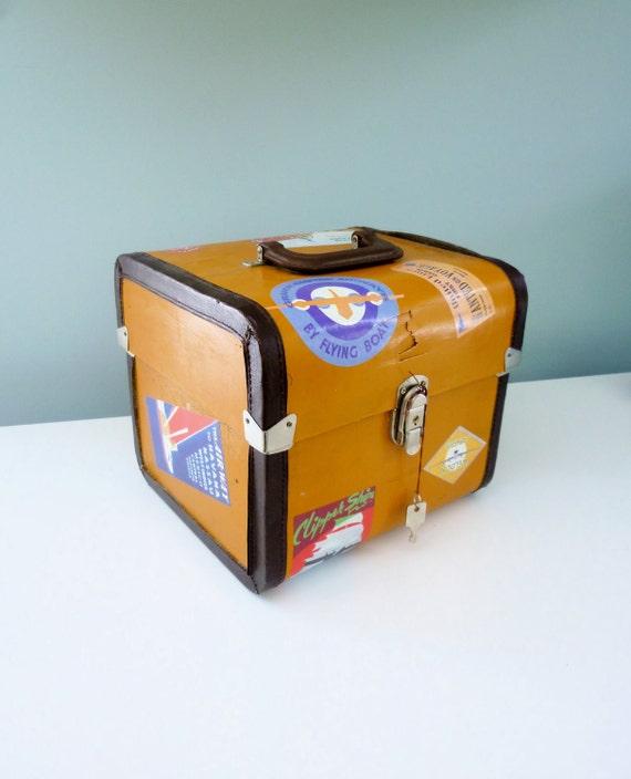 Vintage Decorative Suitcase Faux Mid-Century Travel Stickers 70s 80s Small Square Train Case
