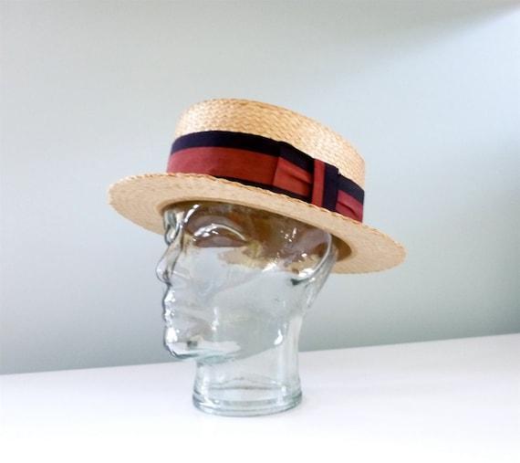 Black Straw Hat Straw Skimmer Red Black