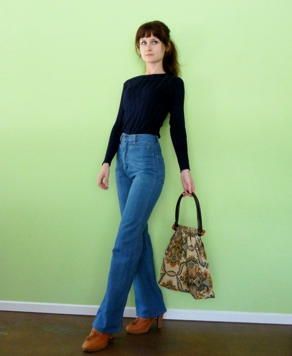 High Waist Jeans XS 70s Vintage Blue Denim Straight Boot Leg Pants