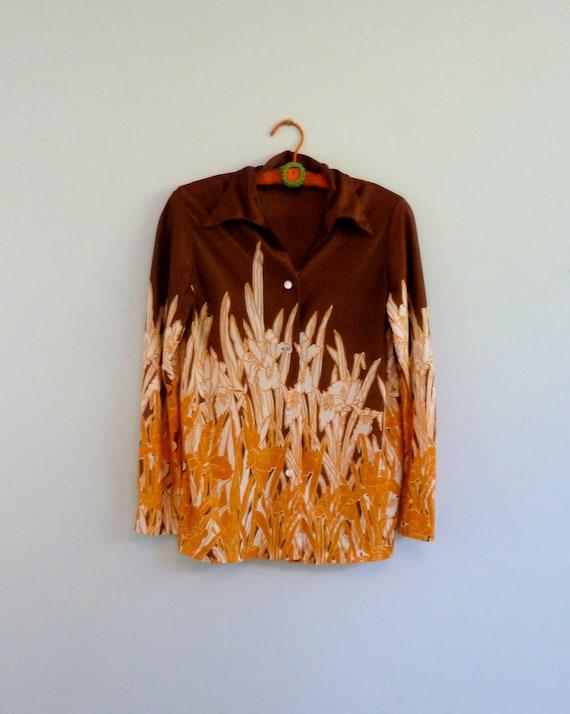 70s Novelty Top Orange Brown Wild Flower Print Retro 1970s Button Down Blouse