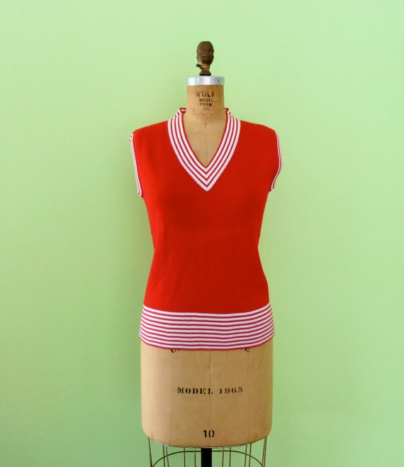 Red Sweater Vest 60s Vintage White Stripe 1960s Top Knit Preppy V Neck Rochelle