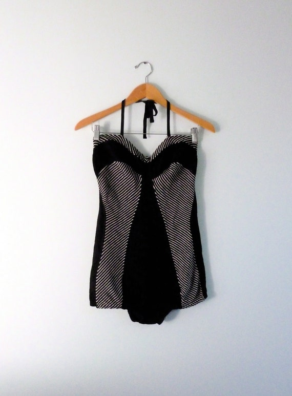 RESERVED 1950s - 1960s Bathing Suit Cutout Back Black White Stripe One Piece Swimsuit Sweetheart Halter Mod 60s S/M