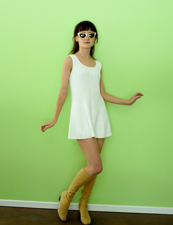 White Tennis Knit Dress Micro Mini 1960s Vintage Preppy