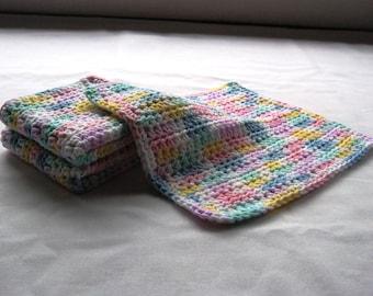 Cotton Crochet Washcloths in Varied Pastels - Set of 3