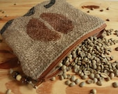 SALE 25% OFF Burlap Coffee Bean make up pouch