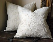 20x20 Monochromatic Tone on Tone Wool Crewel Pillow Cover/Cushion Cover