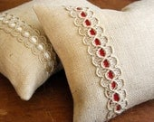 Decorative Pillow - Farmhouse Red Burlap Pillow. Includes Organic Buckwheat Spa or Feather/Down Insert