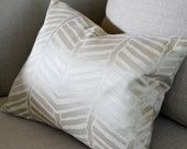 Decorative Pillow - Tribal Lines Silk and Linen Pillow. Includes Organic Buckwheat Spa or Feather Down Insert