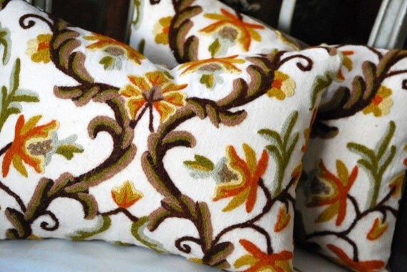 Decorative Pillow - Retro Vintage Crewel and Velvet Pillow. Includes your choice of Organic Buckwheat Spa Insert or Feather/Down Insert