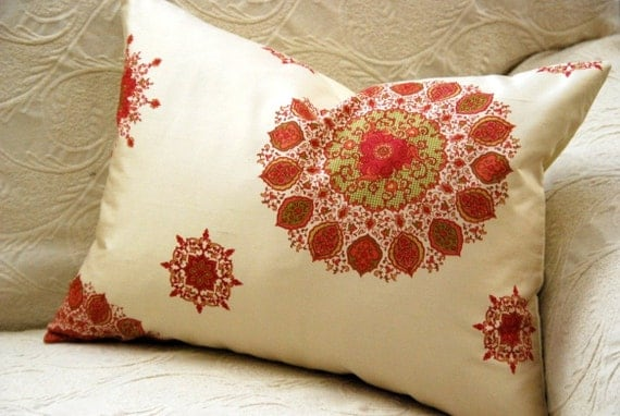 Decorative Pillow - Silk Ivory Suzani Medallion Pillow. Includes Organic Buckwheat Spa or Feather Down Insert
