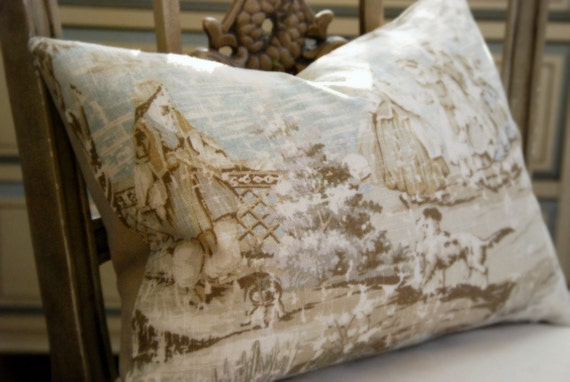 Antiqued French Linen Toile Pillow. Includes Your Choice of Organic Buckwheat Spa Insert or Feather/Down Insert