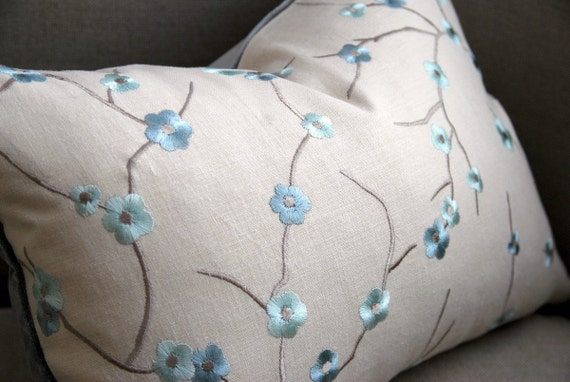 Reserved for LK * Embroidered Cherry Blossom Linen Pillow. Includes your choice of Organic Buckwheat Spa Insert or Feather/Down Insert