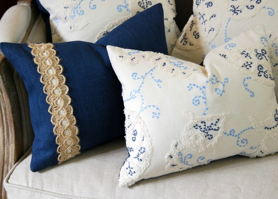 Decorative Pillow - White Paisley Embroidered Pillow. Includes your choice of Organic Buckwheat Spa Insert or Feather/Down Insert