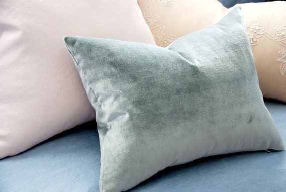 Dusty Blue Velvet Decorative Pillow. Includes your choice of Organic Buckwheat Spa Insert or Feather/Down Insert