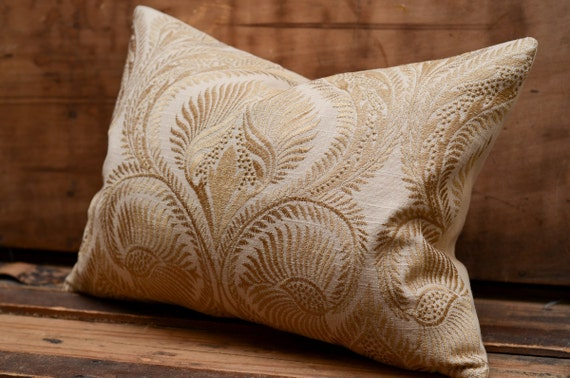 Decorative Pillow - Designer Embroidered Linen Pillow. Includes your choice of Organic Buckwheat Spa or Feather/Down Insert