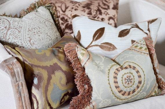 14x14 Designer Brown and Spa Green Raised Chenille Pillow - Custom Order for LS