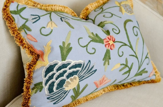 Decorative Blue Pillow - 14x20 Embroidered Designer Crewel