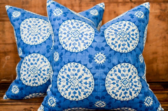 Decorative Pillow - 18x18 Suzani Blue and White Linen Pillow Cover