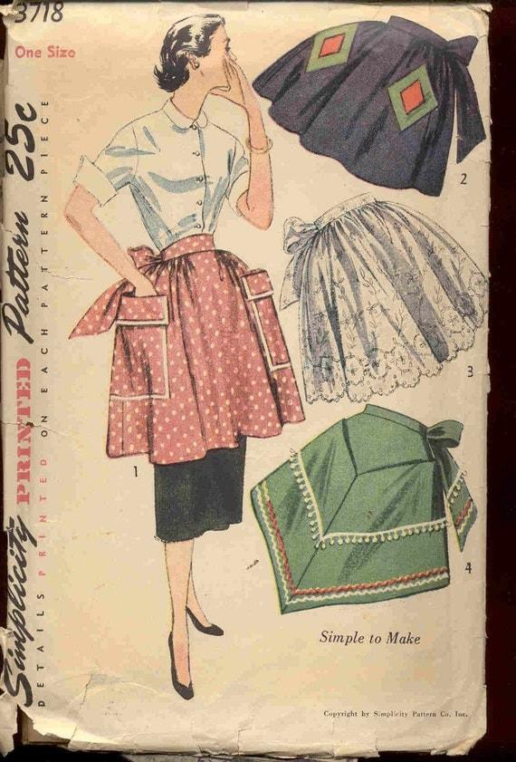 Simplicity 3718 Vintage 1950s apron pattern