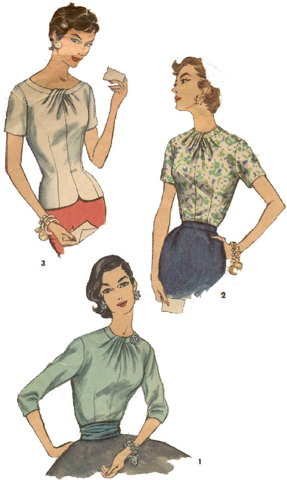 Simplicity 1547 - Vintage 50s Blouse Pattern with Draped Neckline