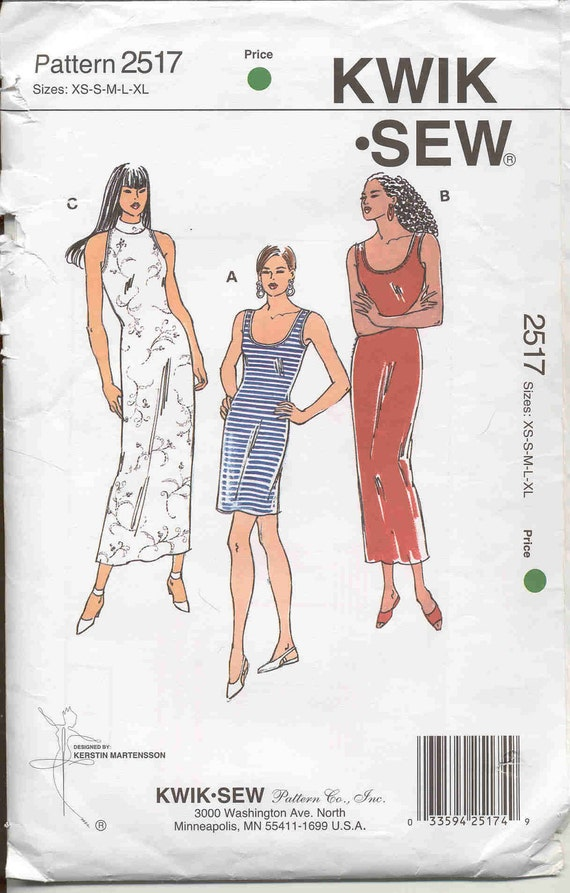 Stretch Knit Sewing Patterns : Kwik Sew pattern 2517 Stretch Knit Dress Pattern